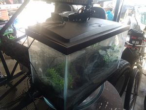 Fish aquarium, LED light, heater, filter system, black sand and decore for Sale in HUNTINGTN BCH, CA