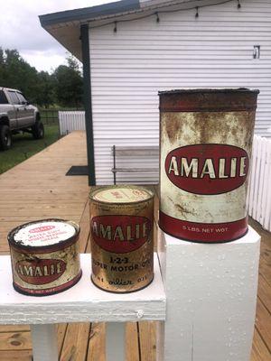 VINTAGE AMALIE OIL CANS - FULL for Sale in Tampa, FL