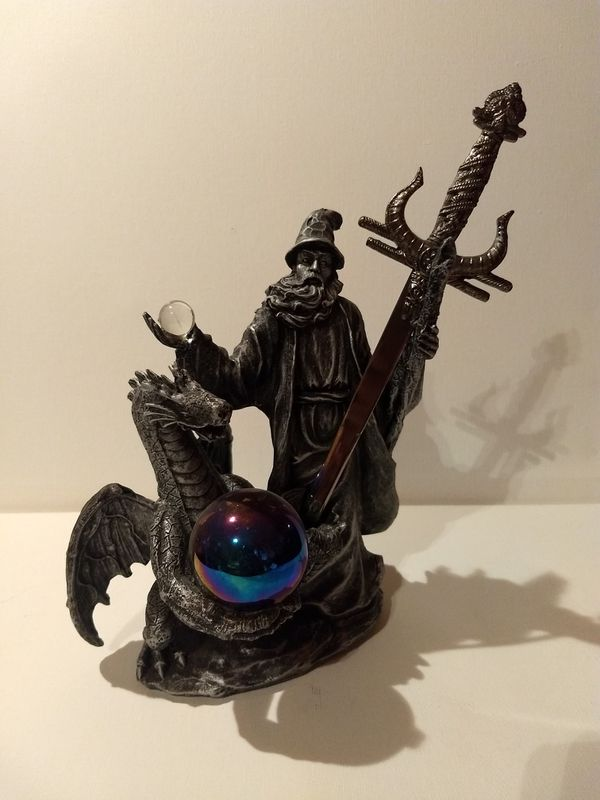 Statue Collectables...Figurine Collector - Dragon/Wizard ceramic with sword.