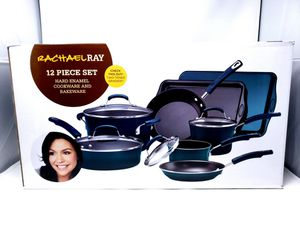 Rachel Ray 12 piece set hard enamel cookware & bakeware 2 toned gradient NIB for Sale in San Diego, CA