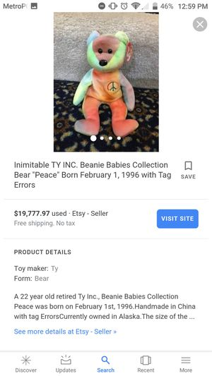 Rare peace bear beanie baby worth $18,000 make a reasonable offer for Sale in Jackson, NJ