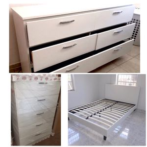New queen bed frame chest dresser mattress is not included for Sale in Orlando, FL