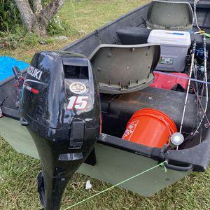 14 Ft John Boat With 2012 Suzuki DF 15 15hp (trailer Included) for Sale in Wimauma, FL