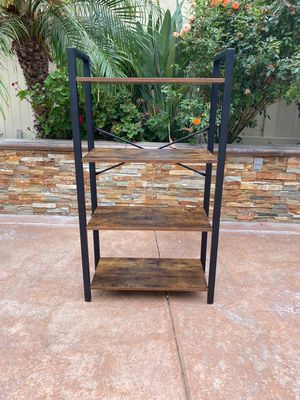 ALINRU Ladder Shelf, 4-Tier Bookshelf Storage Rack, Living Room Bookcase, Stable Iron Frame, Bedroom, Office, Industrial Design, Rustic Brown for Sale in Corona, CA