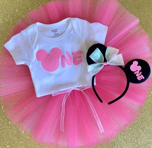Hot Pink Glitter ONE 1st Birthday Outfit: Onesie, Tutu, & Matching Minnie Mouse Headband Ears 18 Months for Sale in Long Beach, CA