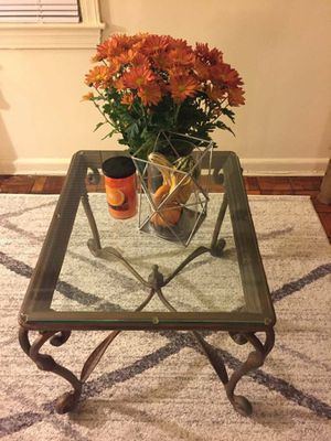 Vintage Iron Frame, Glass Top Coffee Table for Sale in Washington, DC