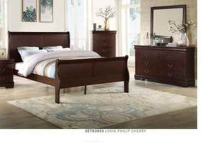 BRAND NEW TWIN FULL QUEEN BEDROOM SET INCLUDES BED FRAME DRESSER MIRROR AND NIGHTSTAND ADD MATTRESS ALL NEW FURNITURE BY USA MEXICO FURNITURE ... 9BP for Sale in Ontario, CA