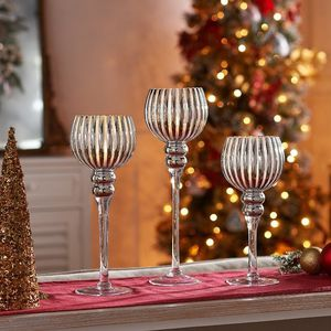 Set of 3 Illuminated Mercury Glass Ribbed Goblets for Sale in Pompano Beach, FL