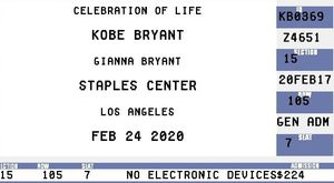 Kobe Bryant Memorial Tickets for Sale in Pasadena, CA