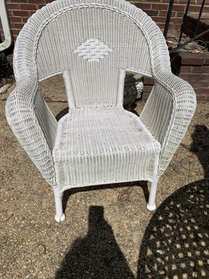 White plastic wicker Three chairs for Sale in Gainesville, VA