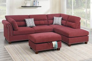PAPRIKA SECTIONAL SOFA WITH STORAGE OTTOMAN AND ACCENT PILLOWS for Sale in Corona, CA