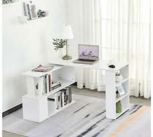 Modern, White 360° Rotating Combo Writing Table Office Hollow Core Hobby Desk w/ Storage Shelf for Sale in Hidden Hills, CA