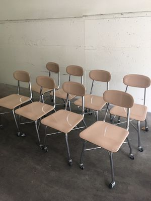 8 heavy Duty Columbia Commercial School Chairs On Casters for Sale in Seattle, WA