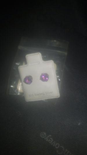 Purple diamonds 925 earrings for Sale in Columbus, OH