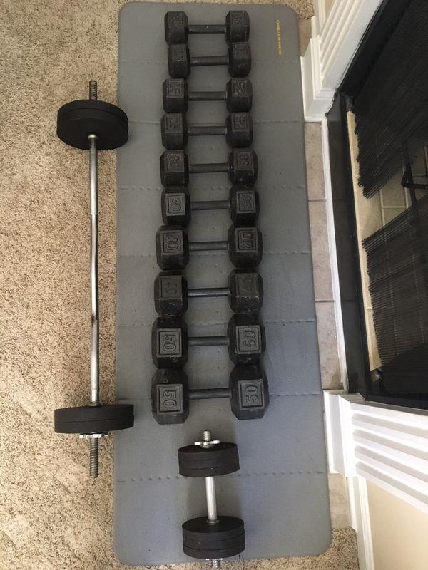 330lb Dumbbell weight set / 70lb adjustable barbell set