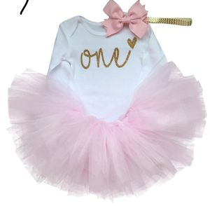 Cotton Baby Girls Clothes 1 Year 1st Birthday Dress Party Dresses For Girl Toddler Kids Baptism Gown Tutu Outfits with Headband for Sale in Los Angeles, CA