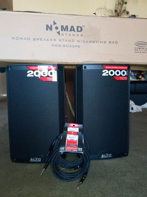 2 speakers with stand and chords included for Sale in Fairfield, CA