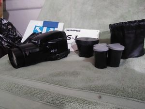 Olympus i.s. 1 camera, zoom lens, 3 films in case and bag for Sale in Columbus, OH