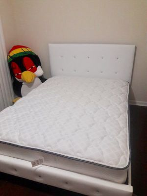 New white full size platform bed frame with mattress. Delivery for Sale in Fort Lauderdale, FL
