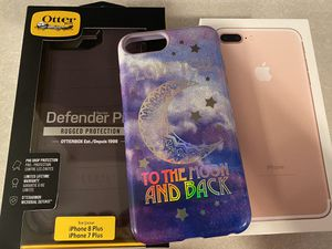 Unlocked iPhone 7 Plus 128gb w/Otter Box and 1 case for Sale in Hillsboro, OR