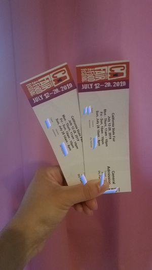 2 State fair tickets! for Sale in Stockton, CA