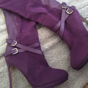 Purple calf high boots for Sale in Lancaster, CA