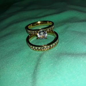 Set 2 Piece 18 K Gold Plated Engagement Wedding Ring, Size 11. for Sale in Dallas, TX