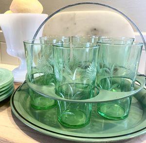 Vintage Green Glassware w/ Tole Caddy for Sale in McLean, VA