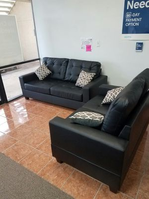 """[F7855] 2-PCS SOFA SET 56"""""""" AND 72"""""""" BLACK BONDED LEATHER [ONLY $50 DOWN AND 90 DAYS TO PAY SAME AS CASH] for Sale in Irving, TX"""