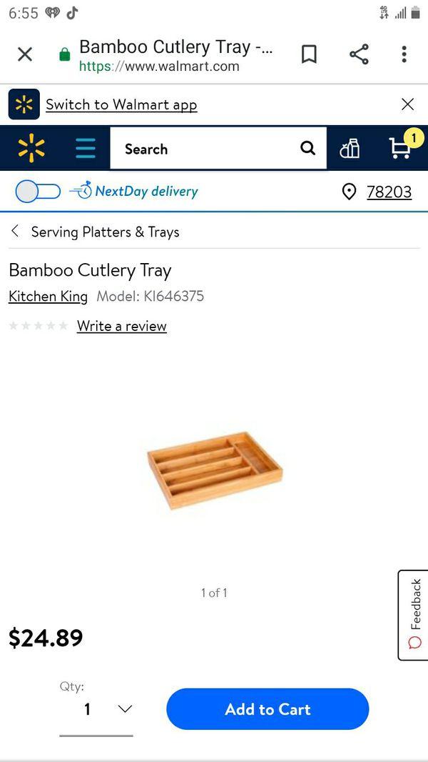 Bamboo silverware cutlery tray