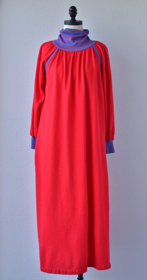 70s Vintage Bright Red and Blue Ultra Soft Jersey Knit Turtle Neck Night Gown by Leisure Life Dress Robe, House Dress, Comfy Nightgown for Sale in San Diego, CA