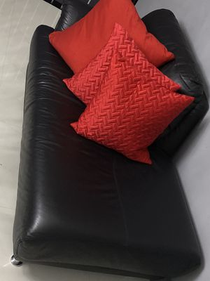 Black Leather Couch-Pillows Not Included for Sale in Miramar, FL