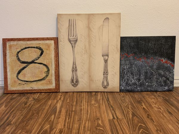 All this for $10. Three painting bundle, abstract art. The two on the sides are 20inch squares.