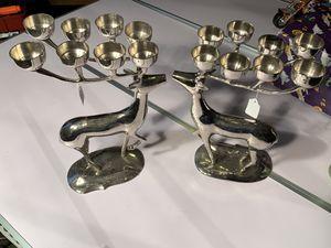"Vintage Brass Deer Candelabra 8 Candle Holder 14"" Tall Reindeer Retired Pair $105. for Sale in Elgin, IL"
