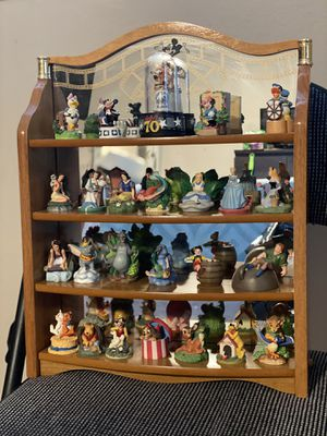 Disney Figurine Collection-24 Thimbles with Hanging 4 Level Wood Mirror Display-By Lenox for Sale in Levittown, NY