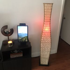 Like New Floor Lamp. Five Foot Tall. Made wide Wood, Metal, Wicker & Canvas. for Sale in Miami, FL