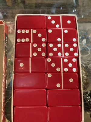 1968 antique vintage red DOMINOES 25.00. 😀Johanna 212 North Main St BUDA Collectibles furniture gifts man cave items sterling silver curious finds for Sale in Buda, TX