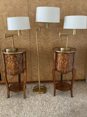 Ralph Lauren Brass Lamp Set and Antique Tables for Sale in Coral Gables, FL