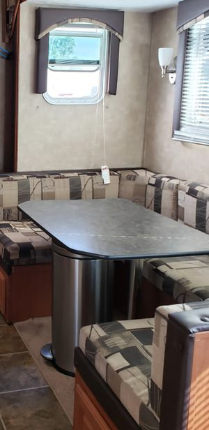 RV KITCHEN TABLE AN HORSE BENCH 7FOOT 3 inches long turns into bed also for Sale in El Cajon, CA