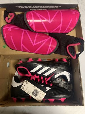 FREE Girl's soccer cleats Size 2 with shin guards for Sale in Camp Hill, PA