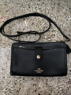 Coach Women's Polished Pebble Leather Wallet/Cross Body Bag - Black for Sale in San Diego, CA