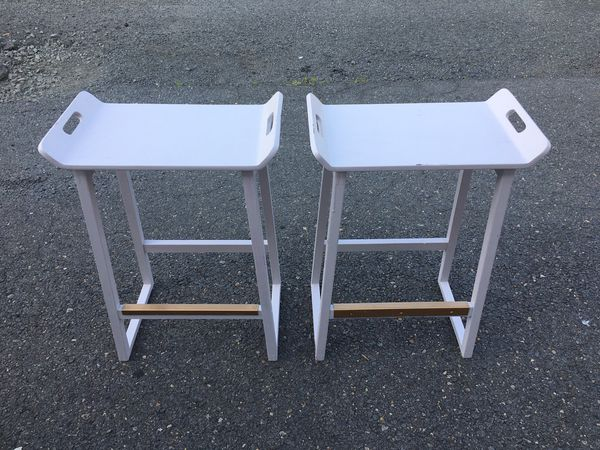 Stools - TV Tray with Gold Trim (2) 19x11x25 high