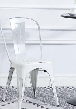 FOURTH OF JULY SPECIAL Bistro cafe chairs white distressed dining chairs cafe chic side chairs BRAND NEW white metal chairs Desk Chair Office Vanity C for Sale in La Habra,  CA