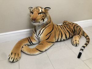 Large Plush Tiger Realistic Big Cat Orange Bengal Stuffed Animal Toy Jumbo XL for Sale in South Miami, FL