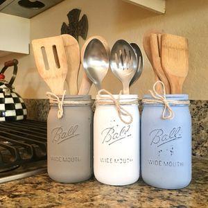 Beautiful mason jar set for kitchen - kitchen utensil holder for Sale in San Diego, CA