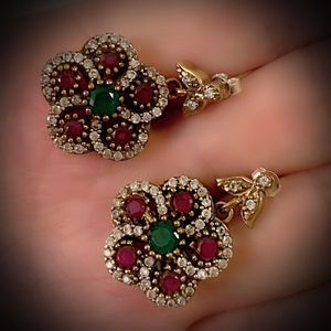 EMERALD PIGEON BLOOD RED RUBY FINE ART EARRINGS Solid 925 Sterling Silver/Gold WOW! Brilliantly Faceted Round Gems, Diamond Topaz K6150 V for Sale in San Diego, CA
