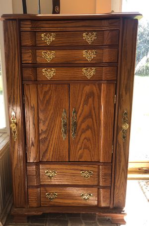 Antique Oak & Brass Jewelry Chest for Sale in Riverview, FL