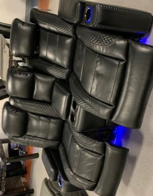 🚛SAME DAY DELIVERY 🔥Party Time Midnight LED Power Reclining Living Room Set with Adjustable Headrest for Sale in Brooklyn Park, MD