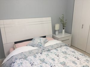 Queen bed with mattress and nightstand brand new never used 900.00 for Sale in Homestead, FL