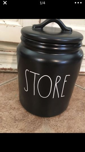 Rae Dunn NEW black store storage container canister jar ceramic kitchen dish dishes for Sale in Ontario, CA